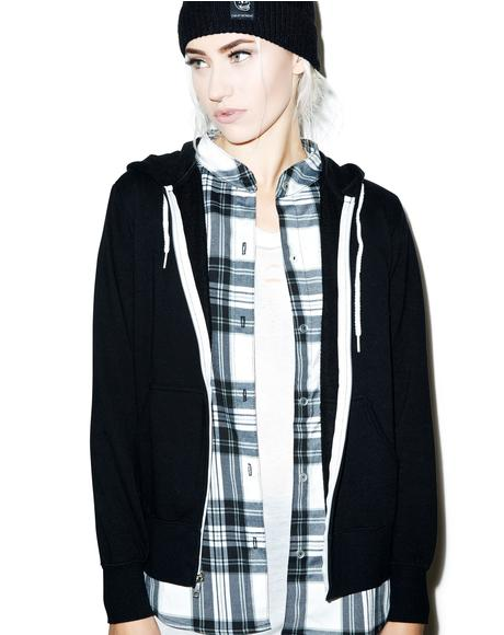 Zip Hoodie With Plaid Shirt