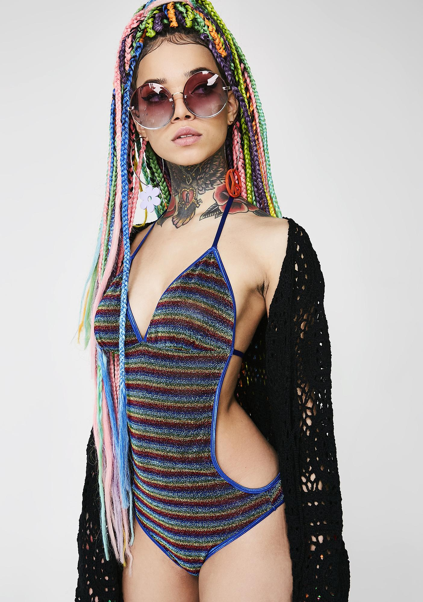 Current Mood Shimmering Prisms Halter Bodysuit