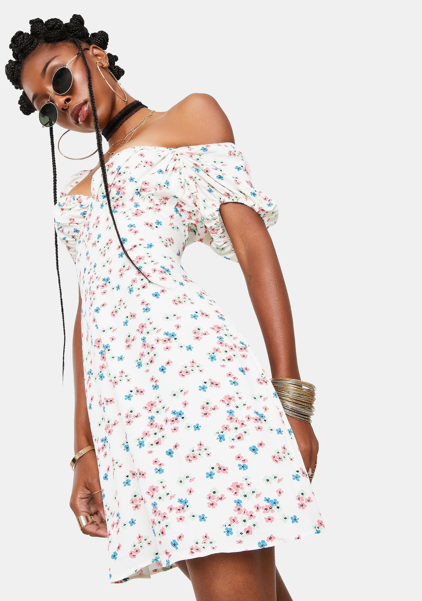 Glamorous Floral Puff Sleeve Mini Dress