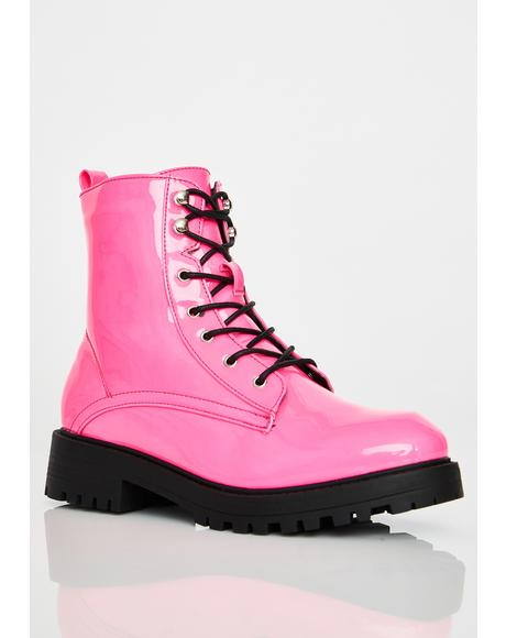 Bubblegum Buck Off Combat Boots