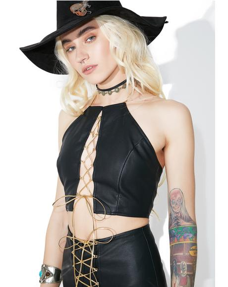 Death Proof Lace-Up Crop Top