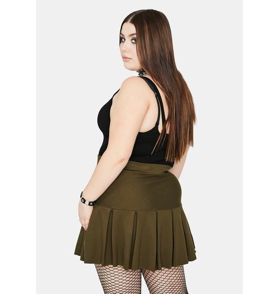 Olive Miss Wicked Scholar Pleated Mini Skirt