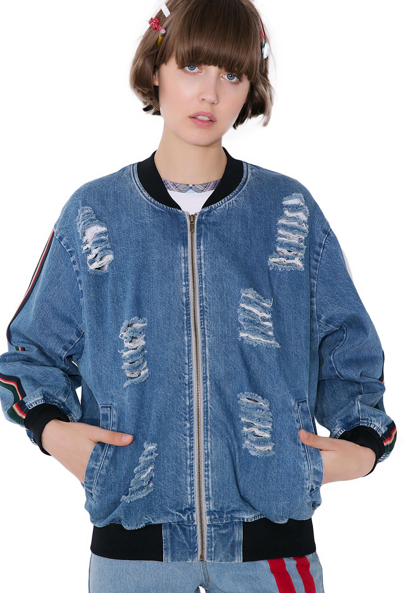 Street Smarts Distressed Denim Bomber Jacket