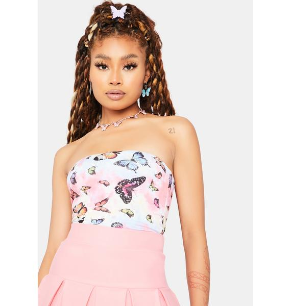 Kiss Way More Wild Butterfly Print Tube Top