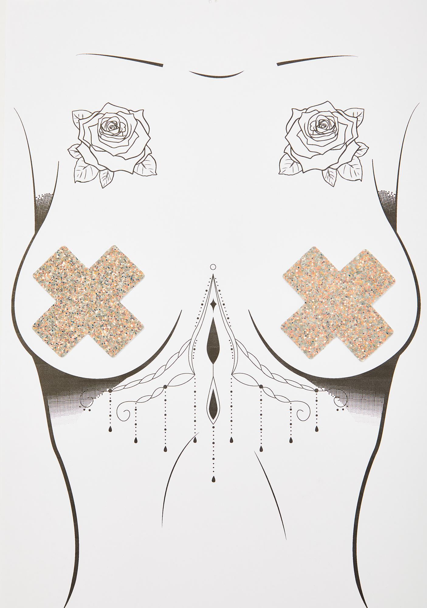 Neva Nude Reflective Glitter Cross Pasties