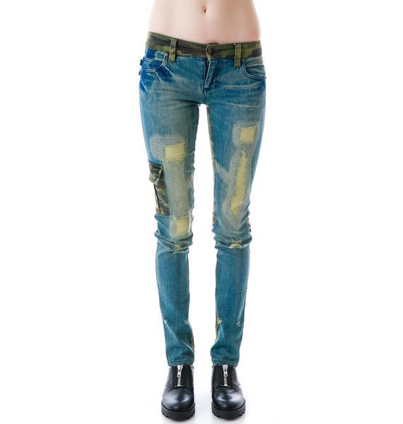 Tripp NYC Denim Camo Split Jeans