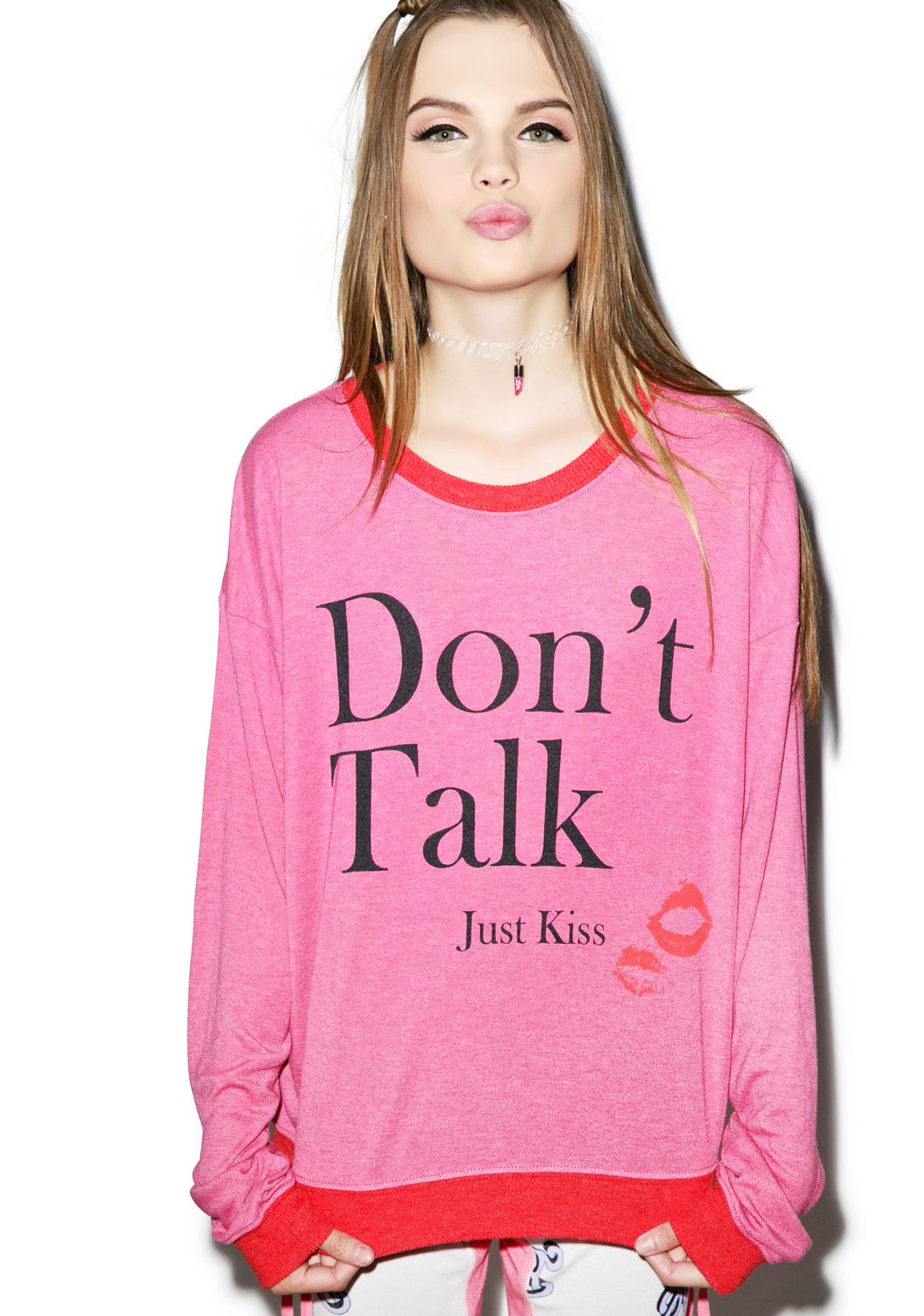 Wildfox Couture Don't Talk Just Kiss Oversized Sweater