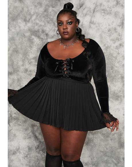 Servin' Rad Omens Pleated Mini Skirt