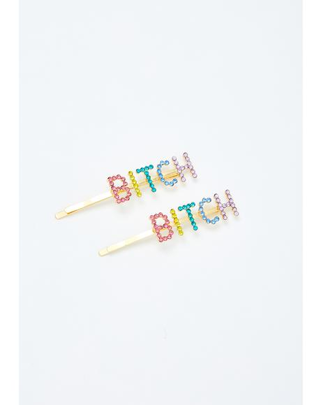 Whatever Bish Rhinestone Hair Pins
