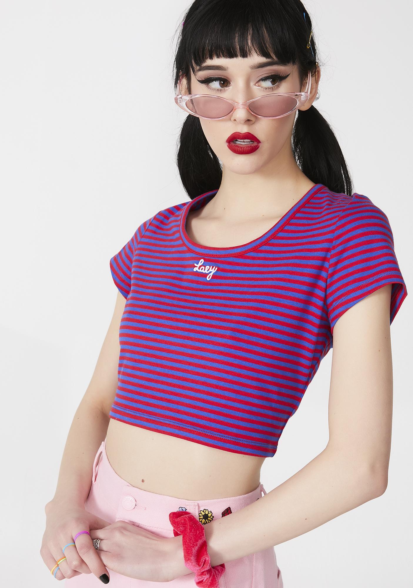 Lazy Oaf Lazy Stripe Fitted T- Shirt