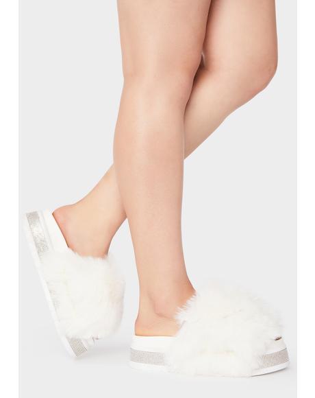 White Minto Rhinestone Slides