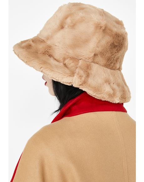 Mocha Joy Ride Fuzzy Bucket Hat