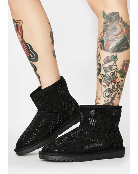 All Night Long Rhinestone Ankle Boots