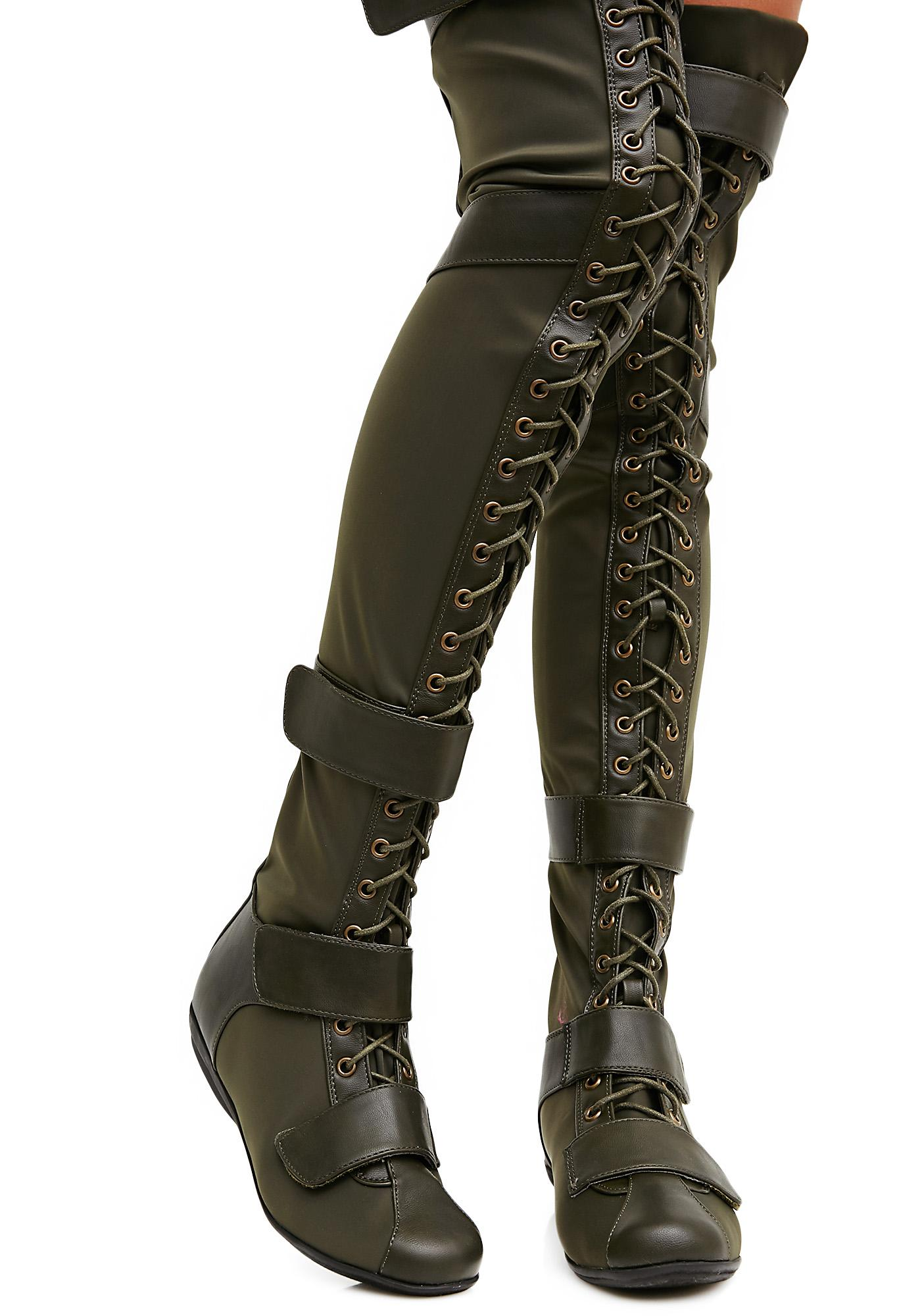 82ffa959765 Olive Cold Soul Over-The-Knee Boots