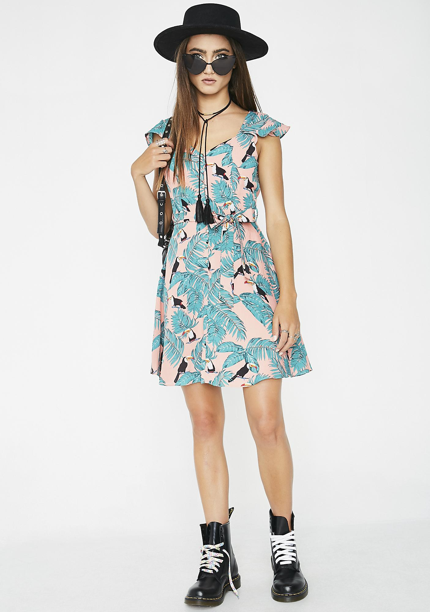 Glamorous Tropical Climate Fit N' Flare Dress