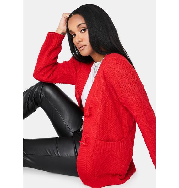 Cherry Next Level Gains Knit Cardigan