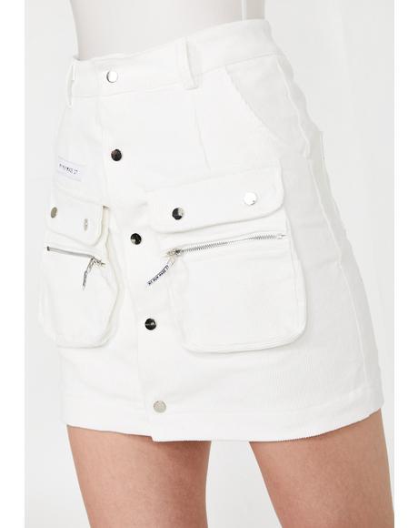 Corduroy Snap Pocket Skirt