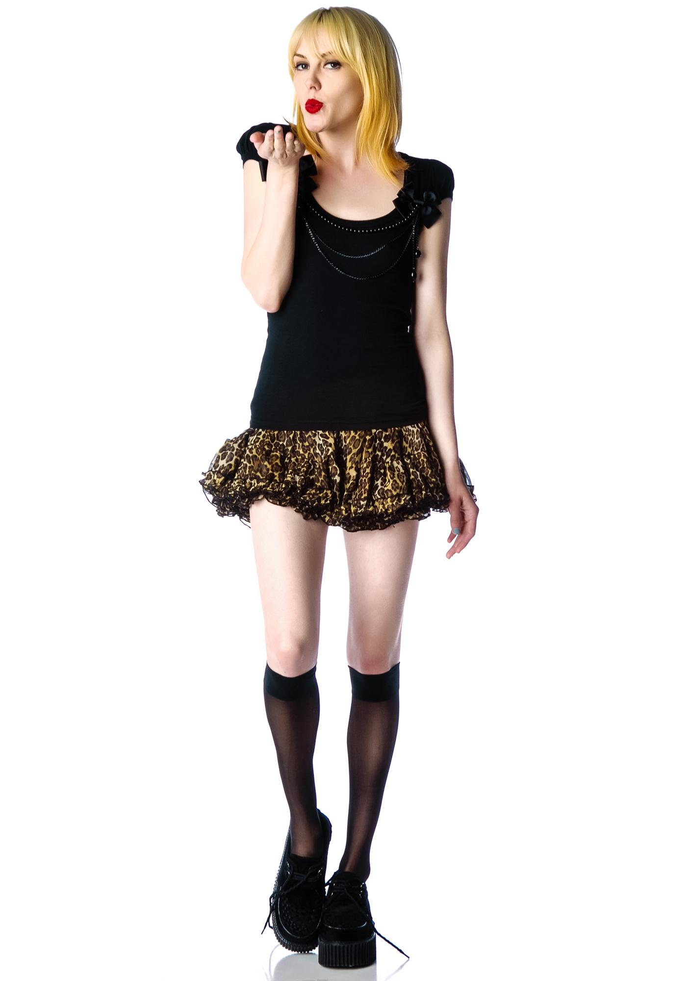 Hell Bunny Demise Beaded Cap Sleeve Top