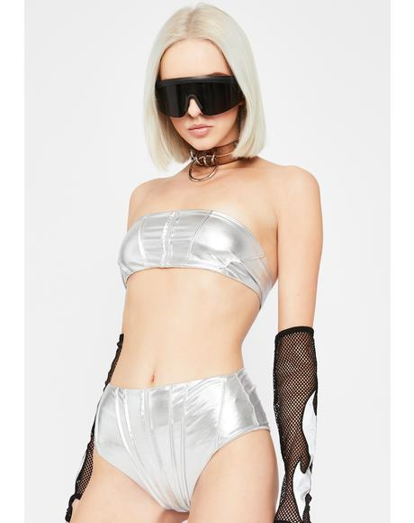 Metallic Waves Hot Shorts Set