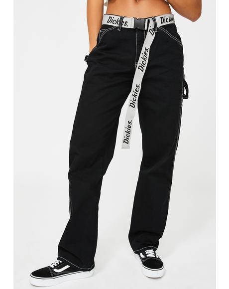 Black Carpenter Reflective Belt Pants