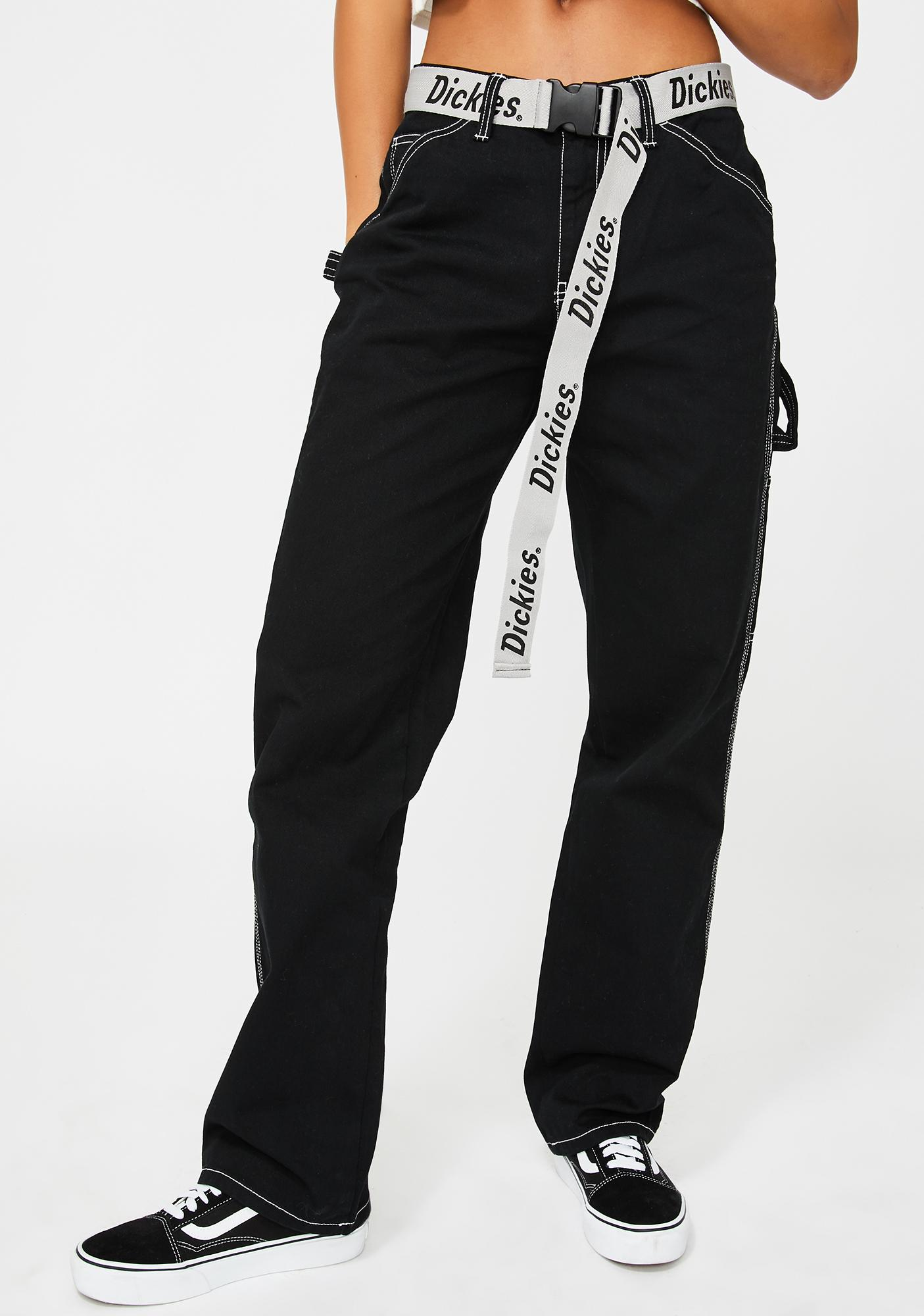 Dickies Girl Black Carpenter Reflective Belt Pants