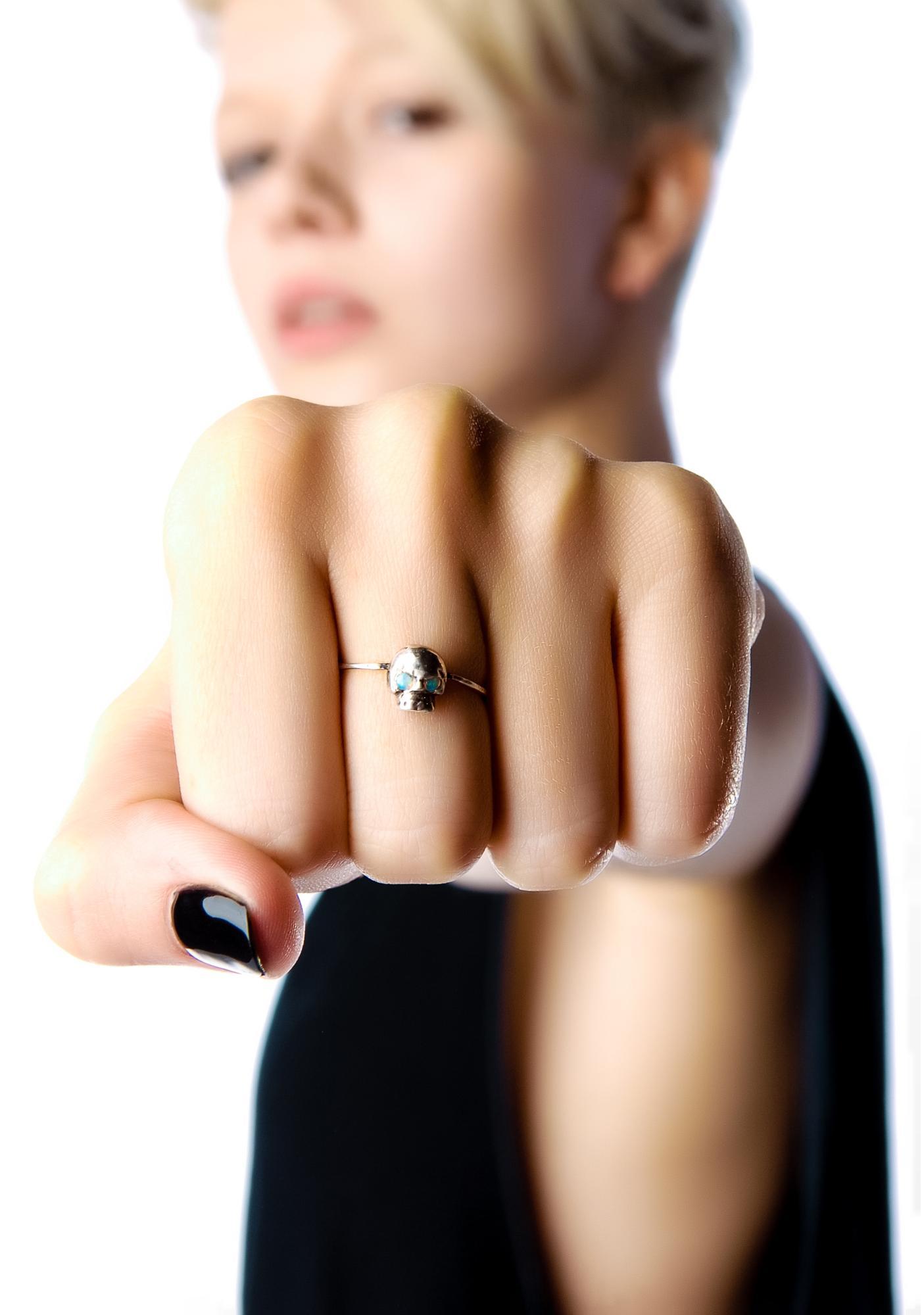 Talon Opal Eyes Mini Skull Ring