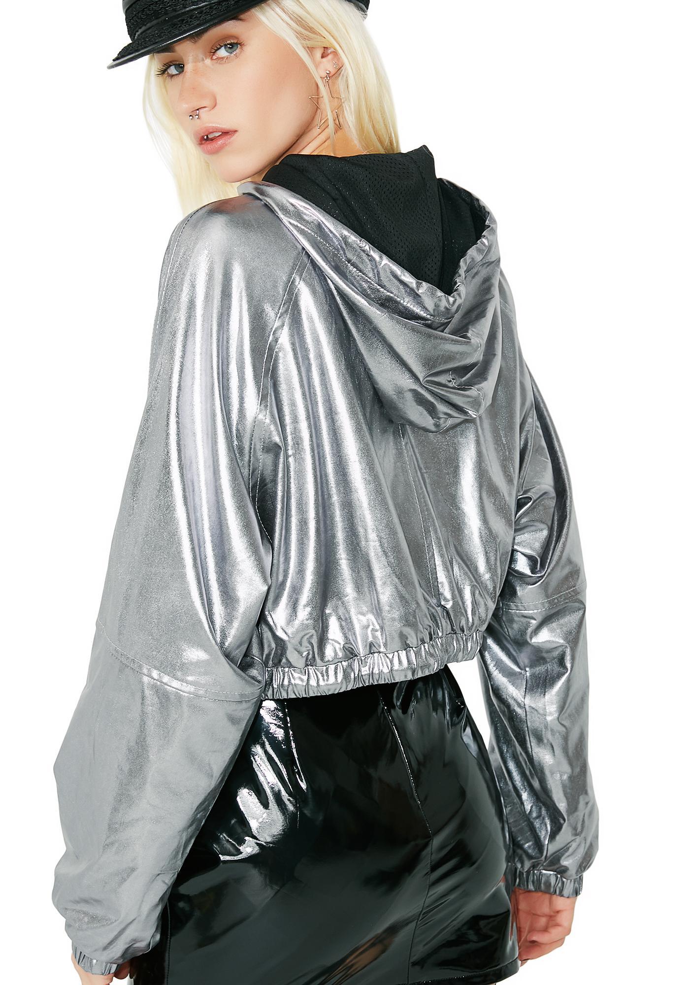 Silver In A Flash Cropped Windbreaker