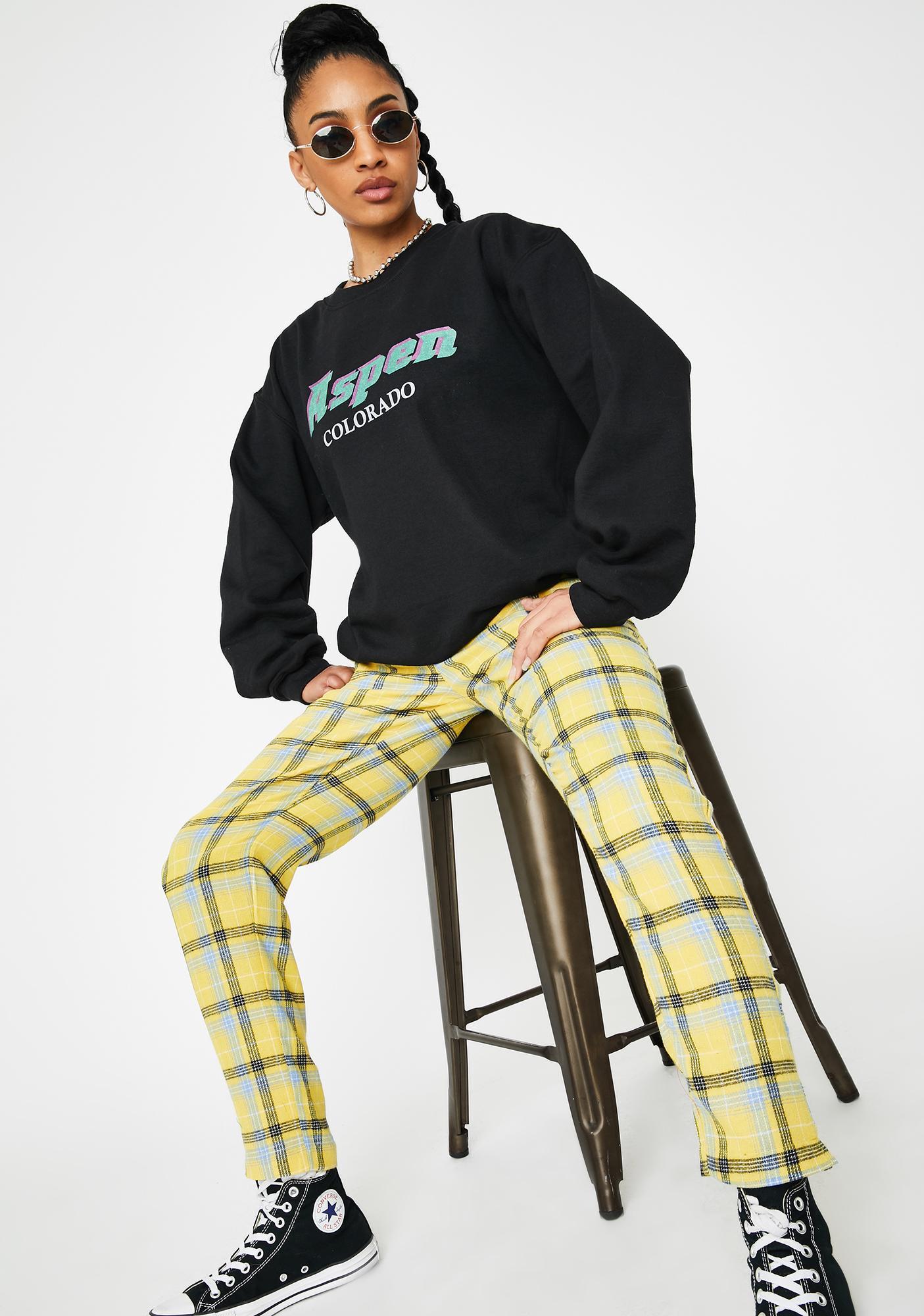 Daisy Street Yellow Checker Print Tapered Pants