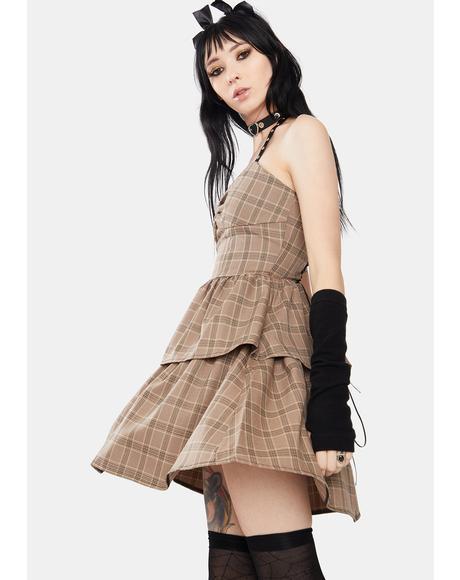 Punk Checkered Layered Corset Mini Dress