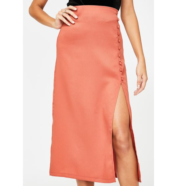 Momokrom Rust Side Split Midi Skirt