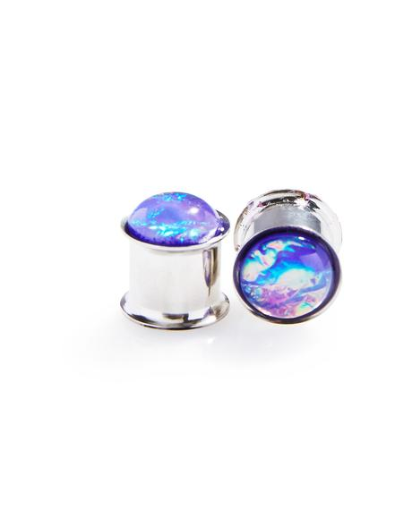 Purple Hologram Double Flare Plugs