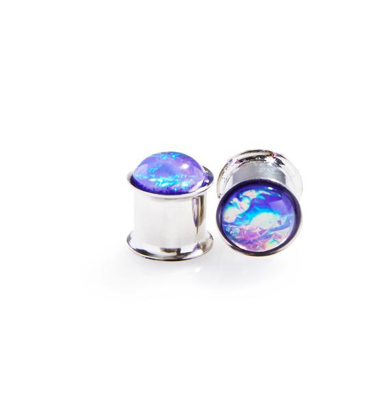 Purple Hologram Double Flare Plugs