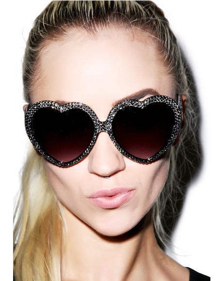 Silver Swarovski� Heart Sunglasses