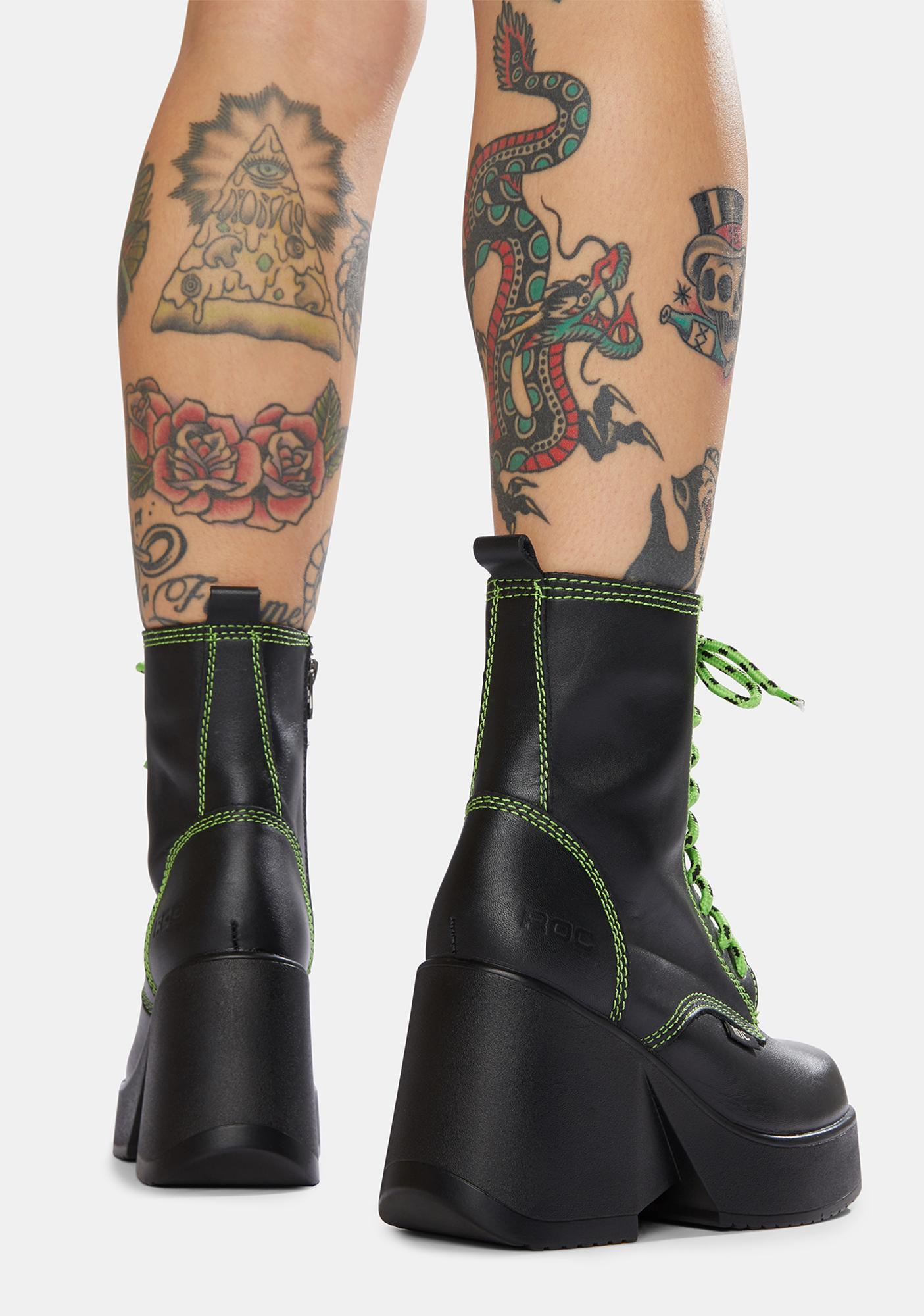 ROC Boots Australia Peachy Lime Leather Platform Boots