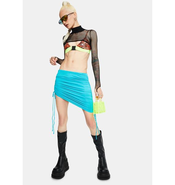 Aqua Hit It Off Ruched Mini Skirt