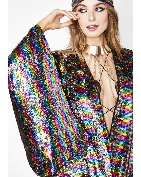 Solar Energy Sequin Kimono