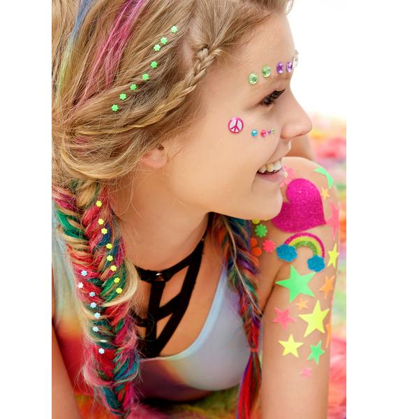 Wicked Hippie Neon Flower Power Hair Jewelz