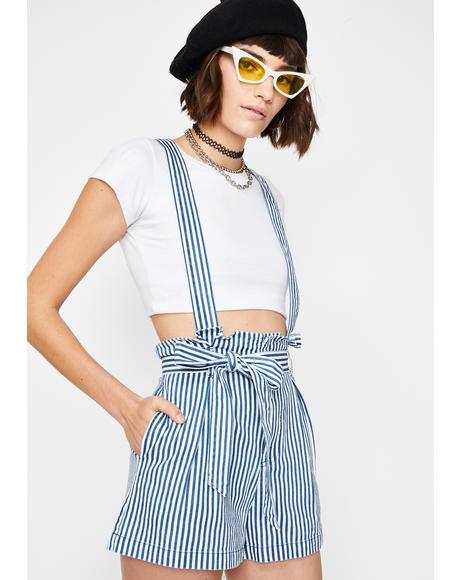 Sunday Chic Striped Shortalls