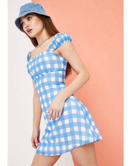 Picking Wildflowers Gingham Babydoll Dress