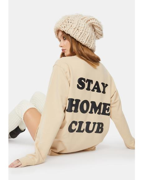 Tan Stay At Home Crewneck Sweatshirt