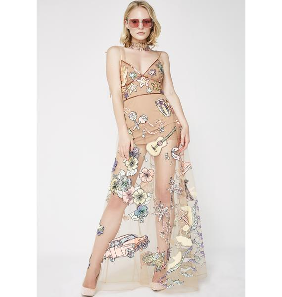 For Love & Lemons Cuba Embroidery Sequin Dress