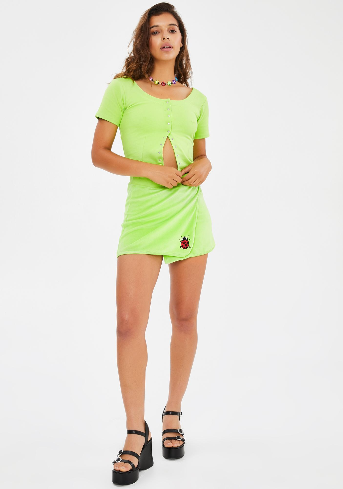 dELiA*s by Dolls Kill Miss Ladybug Velour Skirt