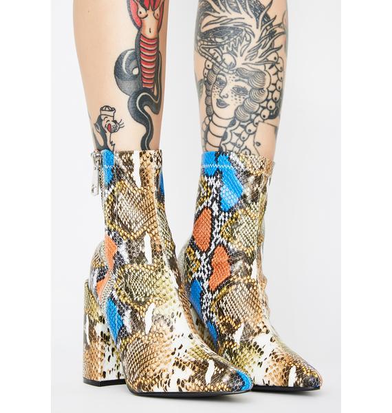 Public Desire Renzo Snakeskin Ankle Boots