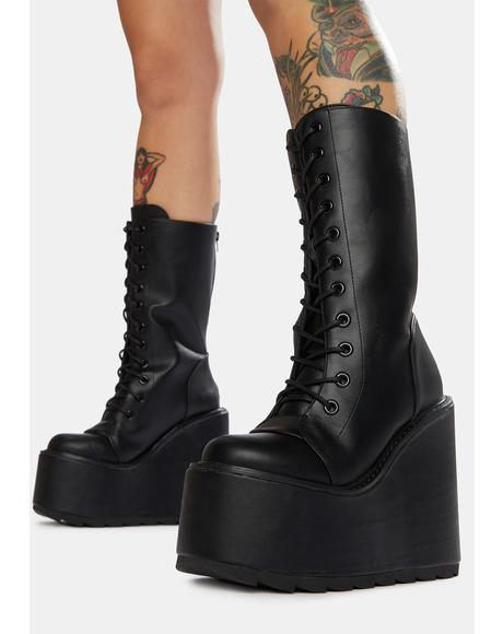 Black Dune Lace-Up Platform Boots