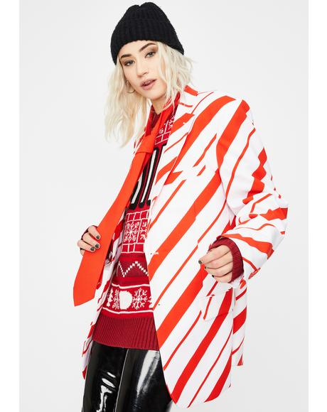 Candy Cane Crusher Oversized Blazer