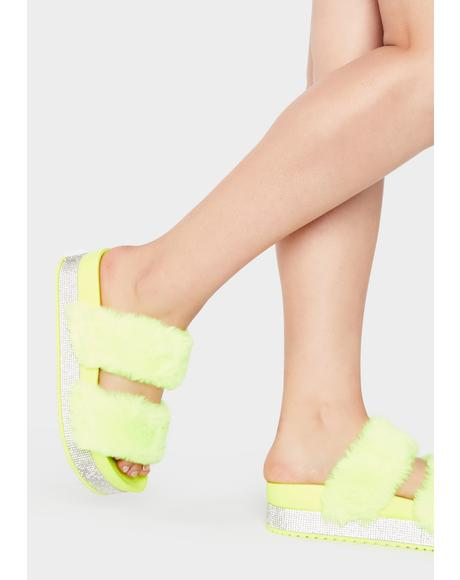 Lemon Luxe Love Platform Slides