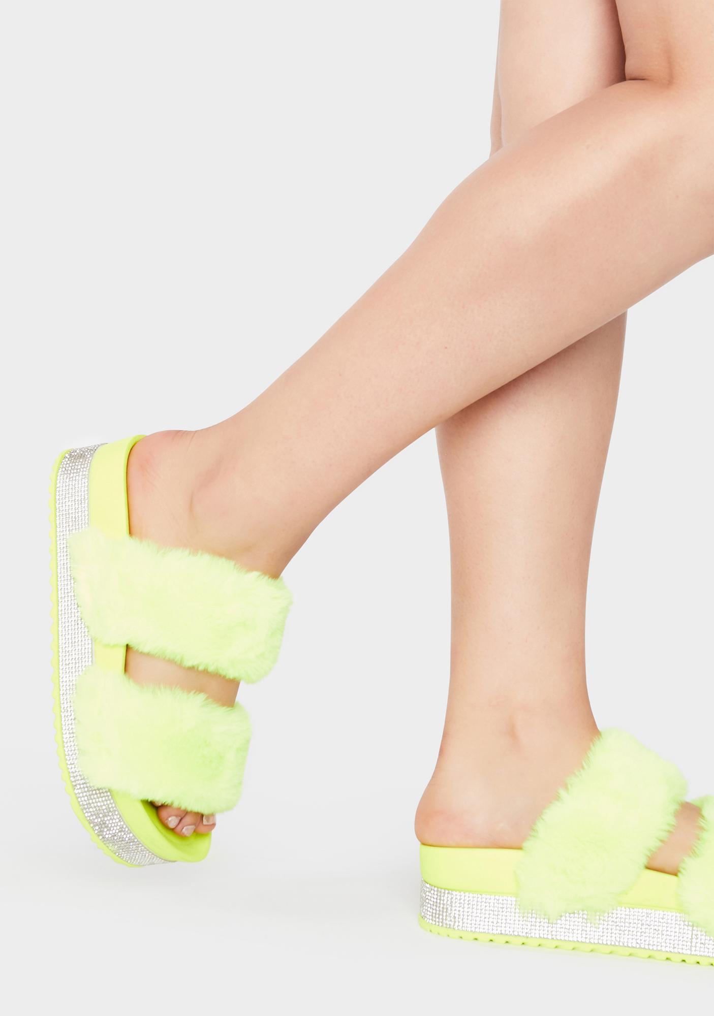 Lemon Luxe Love Platform Slides