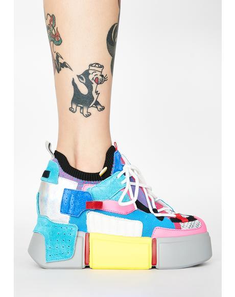 Grey Cranberry Platform Sneakers