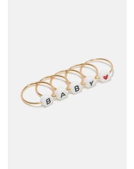 I'll Be Ur Baby Ring Set
