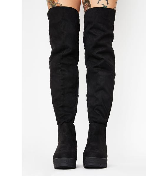 Midnight Viral Vixen Knee High Boots